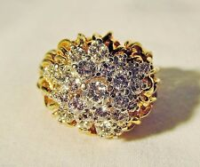 18K Gold Stacked Chandelier Set Diamond Cluster 1.46 TCW Statement Ring No Scrap