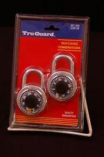 2 Pack, New TruGaurd #C30120 Combination Padlocks, With Matching Combination