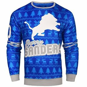 NFL Men's Detroit Lions Barry Sanders #20 Retired Player Ugly Sweater