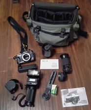 Nice Yashica FX 103 #5mm Camera Outfit 500mm Lens Flash Bag & Etc.