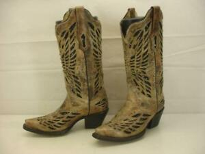 CORRAL Women's 6 M Crystal Butterfly Cowgirl Boots Snip Toe R1211 Bronze Sequins