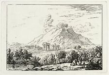 GOMMA tedesco-paesaggio in Pompei-acquaforte del 1800