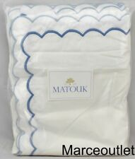 Matouk India Cotton Percale Twin Duvet Cover White / Azure