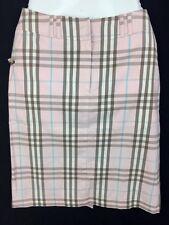 BURBERRY LONDON Pink Novacheck Plaid Print Skirt Size 4 Cotton Blend