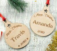 Personalised Christmas Tree Decoration Baby's First Xmas Bauble Wood Santa 2pcs