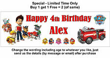 Personalised Baby,Child 1st, any age name Birthday Party Banner, Paw Patrol