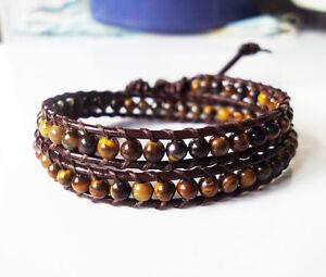 Tiger eye bracelets,Brow bracelets,Leather bracelets,Women bracelets,2 Wrap,Mens