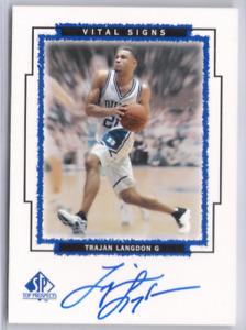 Trajan Langdon 1999 Upper Deck SP Top Prospects Vital Signs Autographed Card