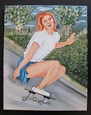 Original Oil Canvas Signed Artist Skateboarder Skateboarding Skater Skate Girl