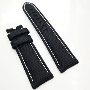 22mm Black Canvas Genuine Leather White Stitch PAM Strap for RADIOMIR LUMINOR