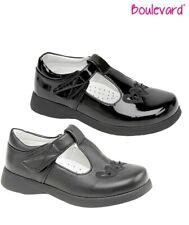 GIRLS T Bar Heart Matt Patent Black School Shoes - Size 6 7 8 9 10 11 12 13 1 2