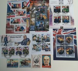 25 Different Winston Churchill Stamps Collection