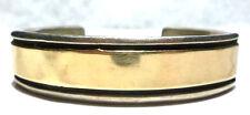 "Gold Heavy Navajo Cuff Bracelet 7"" Big Time Chimney Butte Sterling Silver 14K"