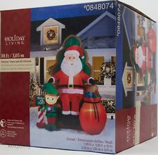 Christmas Gemmy 10 ft Photo with Santa in Chair w/Elf & Bag of gifts Inflatable