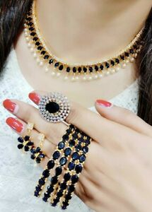 Indian Black Stone American Diamond Necklace Gold Plated Ring Bangles Bracelet