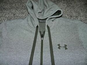 UNDER ARMOR COLD GEAR FULL ZIP HOODIE SWEAT JACKET in GRAY FITTED SIZE LARGE