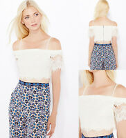 TOPSHOP NEW White Lace Bardot Crop Top Sizes 6 to 16