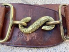 """Canadian Wwi Officers Leather Belt, Snake Buckle, Up to waist 36"""""""