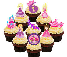 6th Birthday Princess Edible Cup Cake Toppers, 36 Standup Fairy Decorations Girl