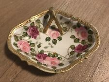 Antique Nippon Moriage Hand Painted Nappy Candy Dish Handle