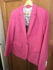 Joules Horatia Fitted Tweed Blazer in Pink Herringbone Size 12