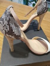 RMK leather high heels with wooden heel, snake skin print BRAND NEW size 40 (8.5
