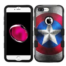 for iPhone 8 Plus Rugged Rubber+Hard Hybrid Case Captain America #MS