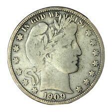 1909 50C Barber Half Dollar F #