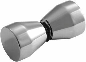 CHROME FINISH STAINLESS STEEL SHOWER DOOR KNOB SET KNOBS HANDLE METAL