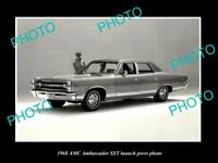 OLD POSTCARD SIZE PHOTO OF 1968 AMC AMBASSADOR SST CAR LAUNCH PRESS PHOTO