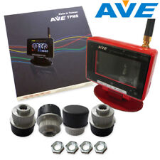 AVE Universal Wireless TPMS 4 External Sensors w Color LCD RED Display Quick DIY