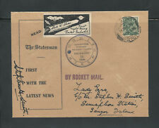 1934 INDIA rocket mail THE STATESMAN - signed Stephen H. Smith - EZ5C1