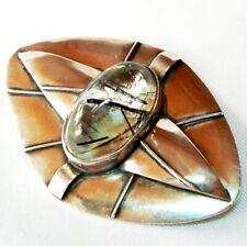 Obersdorf A. Weiss Art Deco 800 Silber Brosche mit Rutilquarz / BK 388