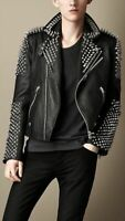 New Mens Black Punk Full Silver Metal Spiked Studded Brando Real Leather Jacket