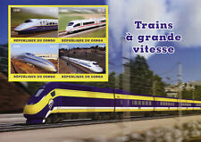 Congo 2018 CTO High Speed Trains 4v M/S Railways Rail Stamps