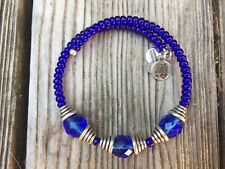 RARE ALEX and ANI Crystal VINTAGE BEADED Cobalt BLUE DIXIE Wrap BRACELET