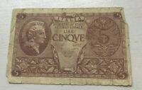 1944 Italy 5 Lire - World Banknote Currency