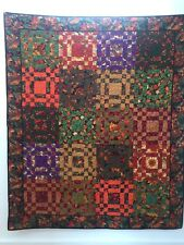 "Fall quilt, measures 56"" x 68"".  Vibrant Autumn colored leaf fabrics."