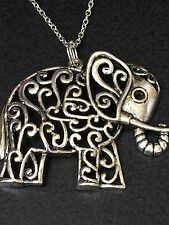 """Elephant Large Ornate Charm Tibetan Silver with 18"""" Necklace"""