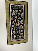 Vintage Chinese Embroidered 100 One Hundred Children Tapestry Wall Hanging Black