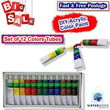 DIY Acrylic Color Paint Set 12 Colors Tubes For Canvas Art and Craft Perfect Set