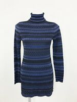 White House Black Market Turtleneck Black Blue Mini Dress Tunic Glitter Size S