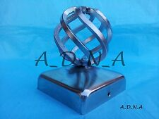 """80mm x 80mm (3.1"""") DECORATIVE GALVANISED SQUARE  METAL FENCE POST CAP  WITH BALL"""