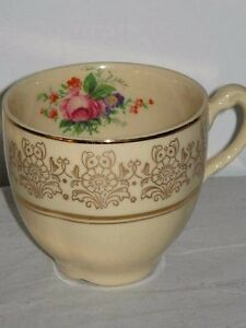 Cream Coloured Cup Gold Floral Decoration & Pink Rose Bouquet Inside England