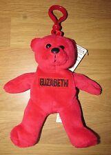 My Name Bear Key Fob Plush Bean Bag Novelty Toy Teddy Red - Elizabeth