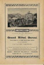 Stampa antica pubblicità GRAND HOTEL GARONI Pallanza 1889 Old antique print