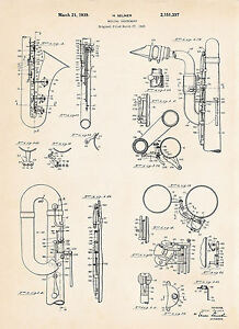 1939 Selmer Saxophone Sax Art Gift Ideas For Player Patent Print Posters Drawing