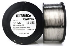 TEMCo Nichrome 60 series wire 30 Gauge 1.5 lb (5376 ft)Resistance AWG ga