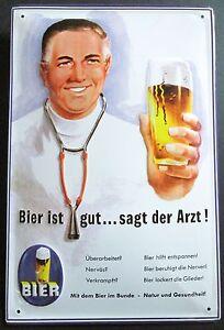 BIER IST GUT SAGT DER ARZT , BLECHSCHILD mit PRÄGUNG 20 x 30 cm