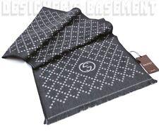 GUCCI graphite & gray Interlocking G logo Diamante Wool scarf NWT Authentic